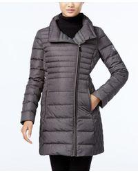 Michael Kors | Gray Michael Plus Size Asymmetrical Down Coat | Lyst