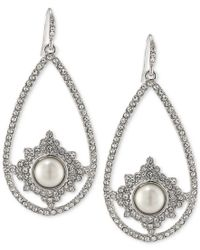 Carolee | Metallic Silver-tone Imitation Pearl And Pave Pear Drop Earrings | Lyst