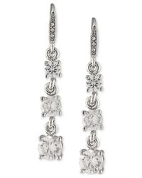Carolee | Metallic Silver-tone Graduated Crystal Linear Drop Earrings | Lyst