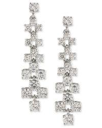 Carolee | Metallic Silver-tone Crystal Ladder Linear Drop Earrings | Lyst