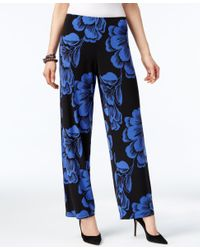 Alfani Blue Petite Printed Wide-leg Pull-on Pants, Only At Macy's