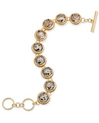 ABS By Allen Schwartz | Metallic Gold-tone Crystal Toggle Bracelet | Lyst