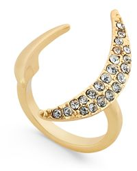 ABS By Allen Schwartz | Metallic Gold-tone Dark Horse Pavé Crescent Ring | Lyst