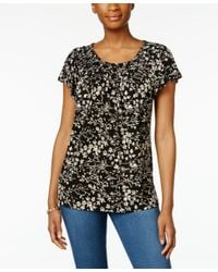 Style & Co. | Black Printed Pleat-neck Top, Only At Macy's | Lyst