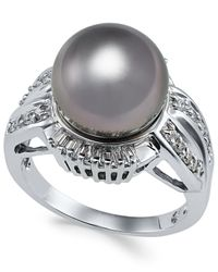 Macy's | Metallic Cultured Tahitian Black Pearl (11mm) And Diamond (3/8 Ct. T.w.) Statement Ring In 14k White Gold | Lyst