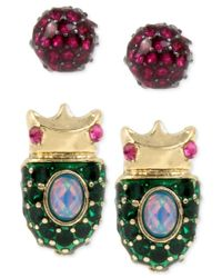Betsey Johnson | Metallic Gold-tone 2-pc. Set Pave Beetle And Pink Crystal Stud Earrings | Lyst
