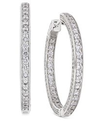 Macy's | Diamond Inside-out Hoop Earrings (2-1/2 Ct. T.w.) In 14k White Gold | Lyst