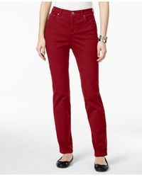 Style & Co.   Red Petite Tummy-control Straight-leg Jeans, Only At Macy's   Lyst
