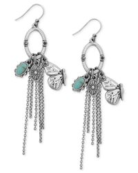 Lucky Brand | Metallic Silver-tone Butterfly And Stone Fringe Drop Earrings | Lyst