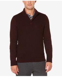 Perry Ellis | Brown Men's Quarter-zip Mock Neck Sweater for Men | Lyst