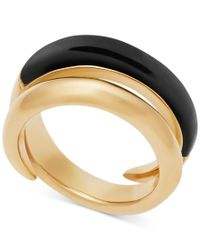 Michael Kors - Metallic Gold-tone And Black Bypass Ring - Lyst
