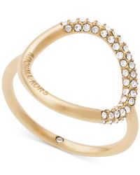 Michael Kors | Metallic Gold-tone Pavé Crystal Open Circle Statement Ring | Lyst