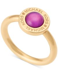 Michael Kors   Metallic Colored Imitation Mother Of Pearl Bezel-set Ring   Lyst