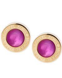 Michael Kors | Purple Colored Imitation Mother Of Pearl Bezel-set Earrings | Lyst
