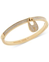 Michael Kors | Metallic Pavé Crystal Lock Bangle Bracelet | Lyst