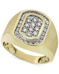 Macy's | Metallic Men's Diamond Oval Cluster Ring (1/2 Ct. T.w.) In 10k Gold for Men | Lyst