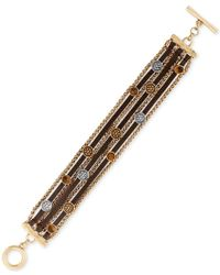 Lucky Brand | Multicolor Two-tone Leather And Chain Multi-row Decorative Toggle Bracelet | Lyst