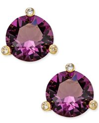 kate spade new york | Purple Gold-tone Navy Blue And Clear Crystal Stud Earrings | Lyst