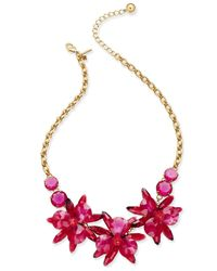 kate spade new york   Pink Gold-tone Blue Crystal Flower Collar Necklace   Lyst