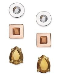 Kate Spade | White Tri-tone 3-pc. Set Crystal Stud Earrings | Lyst