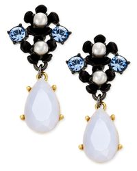 Kate Spade - Blue Pretty Petals Imitation Pearl Flower Drop Earrings - Lyst