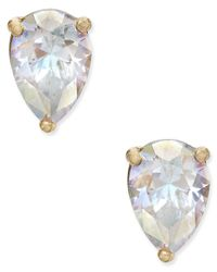 kate spade new york   White Gold-tone Crystal Teardrop Stud Earrings   Lyst