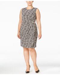 Calvin Klein   Multicolor Plus Size Sleeveless Faux-wrap Dress   Lyst