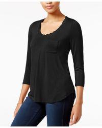 Maison Jules   Black Three-quarter-sleeve T-shirt, Only At Macy's   Lyst