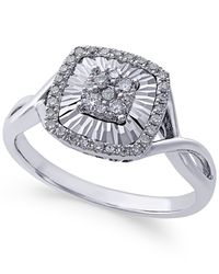 Macy's - Multicolor Diamond Square-style Miracle Plate Ring (1/4 Ct. T.w.) In 14k White Gold - Lyst