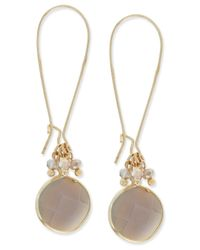 INC International Concepts | Metallic Gold-tone Round Stone With Beaded Accent Drop Earrings, Only At Macy's | Lyst