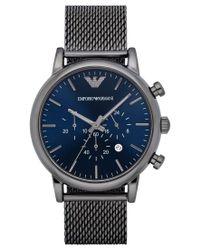 Emporio Armani | Blue Men's Chronograph Luigi Gunmetal Stainless Steel Mesh Bracelet Watch 46mm Ar1979 for Men | Lyst