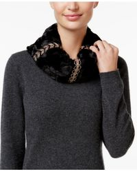 INC International Concepts | Black Embellished Faux Fur Cowl Loop, Only At Macy's | Lyst