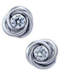 Macy's | Metallic Cubic Zirconia Love Knot Stud Earrings In 10k White Gold | Lyst
