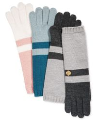 Anne Klein | Gray Colorblock Long Knit Gloves | Lyst