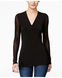 INC International Concepts | Black Illusion-sleeve V-neck Blouse, Only At Macy's | Lyst