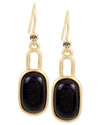 Kenneth Cole - Metallic Gold-tone Flecked Stone Oval Drop Earrings - Lyst