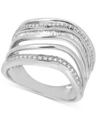 Macy's | Metallic Diamond Multi-row Abstract Statement Ring (1/2 Ct. T.w.) In Sterling Silver | Lyst