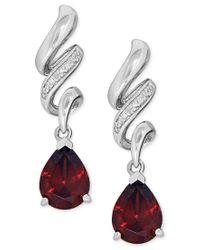 Macy's | Red Garnet (2-5/8 Ct. T.w.) And Diamond Accent Swirl Drop Earrings In Sterling Silver | Lyst