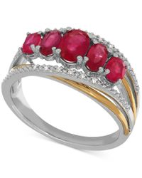 Macy's | Metallic Ruby (1-3/4 Ct. T.w.) And Diamond Accent Ring In Sterling Silver And 14k Gold | Lyst
