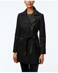 Michael Kors | Black Asymmetrical-zip Walker Coat | Lyst