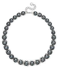 Charter Club | Metallic Imitation Pearl And Crystal Collar Necklace, Only At Macy's | Lyst