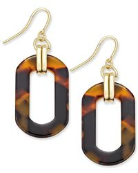 Charter Club | Metallic Gold-tone Tortoiseshell-look Oval Drop Earrings, Only At Macy's | Lyst
