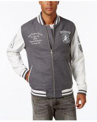 Sean John | Gray Men's Multi-patch Wool Blend & Faux Leather Varsity Jacket for Men | Lyst