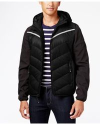 Michael Kors | Black Michael Men's Big And Tall Hooded Contrast Down Coat for Men | Lyst