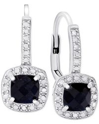 Macy's | Metallic Victoria Townsend Sapphire (1-1/2 Ct. T.w.) And Diamond Accent Drop Earrings In Sterling Silver | Lyst