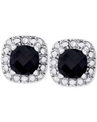 Macy's | Metallic Sapphire (1-1/2 Ct. T.w.) And Diamond Accent Stud Earrings In Sterling Silver | Lyst