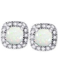 Macy's   Metallic Opal (1 Ct. T.w.) And Diamond Accent Stud Earrings In Sterling Silver   Lyst