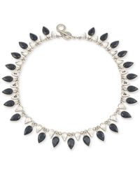 Carolee | Blue Silver-tone Jet And Clear Teardrop Crystal Collar Necklace | Lyst