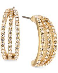 Carolee | Metallic Gold-tone Pave Half-hoop Earrings | Lyst
