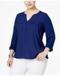 INC International Concepts   Blue Plus Size Mixed-media Utility Blouse, Only At Macy's   Lyst
